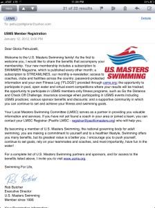 I'm officially a USMS member for 2012!