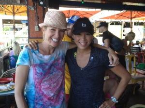 Dotsie Bausch, SpiderTech Rep and Olympian, and I at our Wattie Ink. Team Breakfast in Kona, HI.