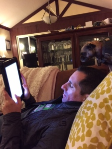 Ken and Frida reading the iPad this morning as they wait on me.